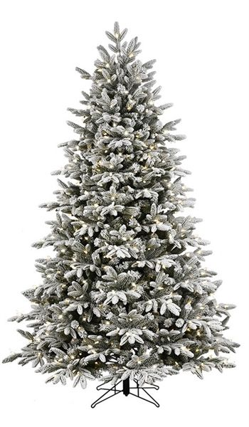Shop Ge 7 5 Ft Pre Lit Alaskan Fir Full Flocked Artificial Christmas Tree White Colo Flocked Artificial Christmas Trees Christmas Tree Pre Lit Christmas Tree
