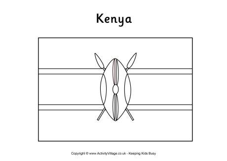 Kenya Flag Colouring Page Flagg Skole