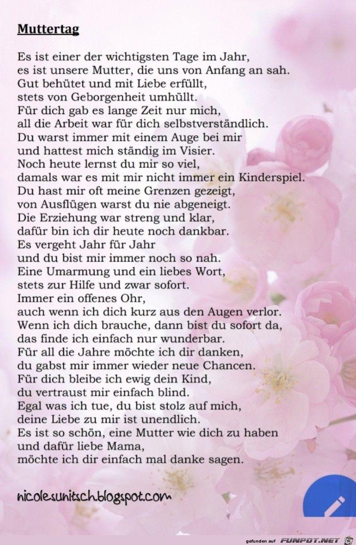 Muttertag Muttertag Gedicht Muttertag Sprüche Und Muttertag