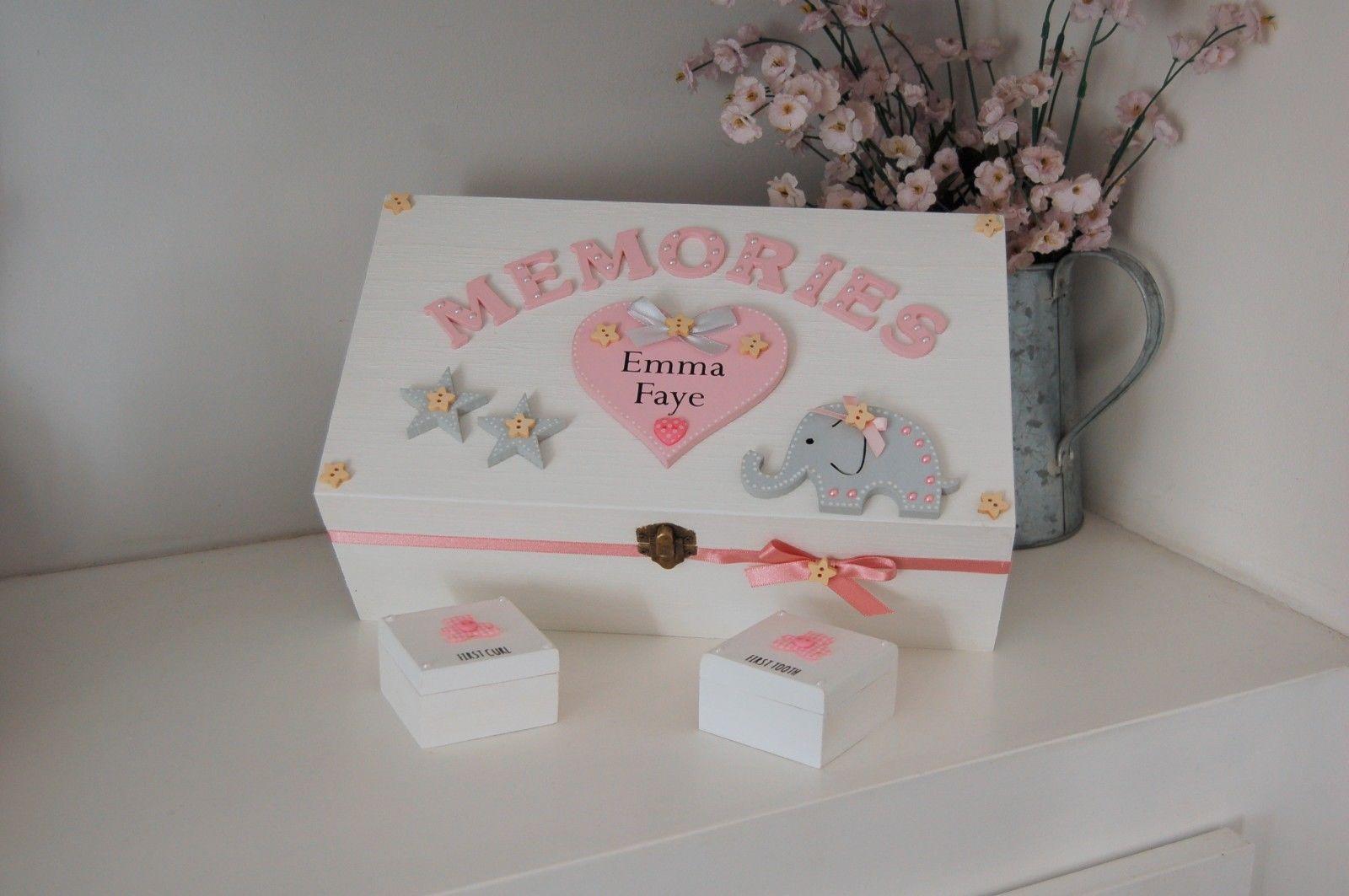 Beautiful Baby Girls Small Wooden Keepsake Box Christening Gift
