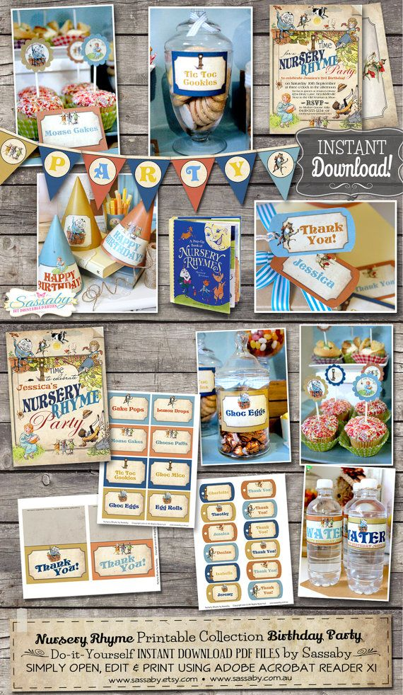 Nursery Rhyme Party Collection Instant Editable Printable Birthday Decorations By Saby