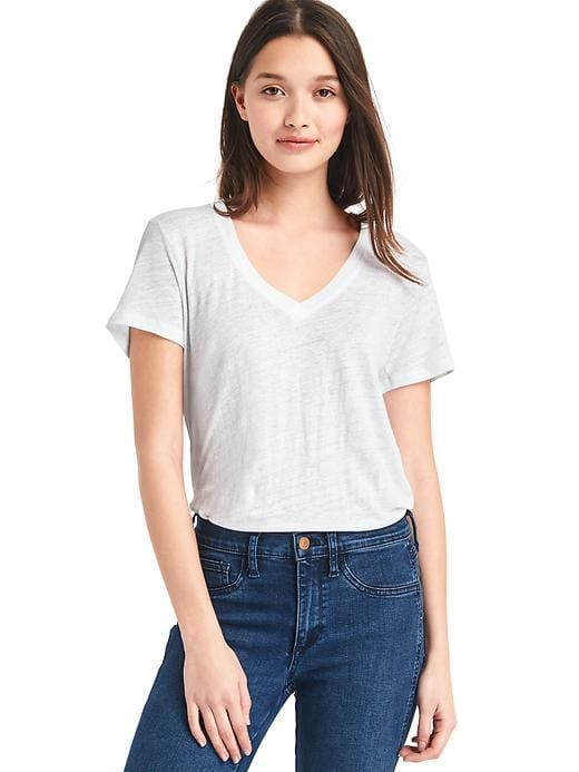 cbc57733f9 Gap Womens Linen V-Neck Tee White