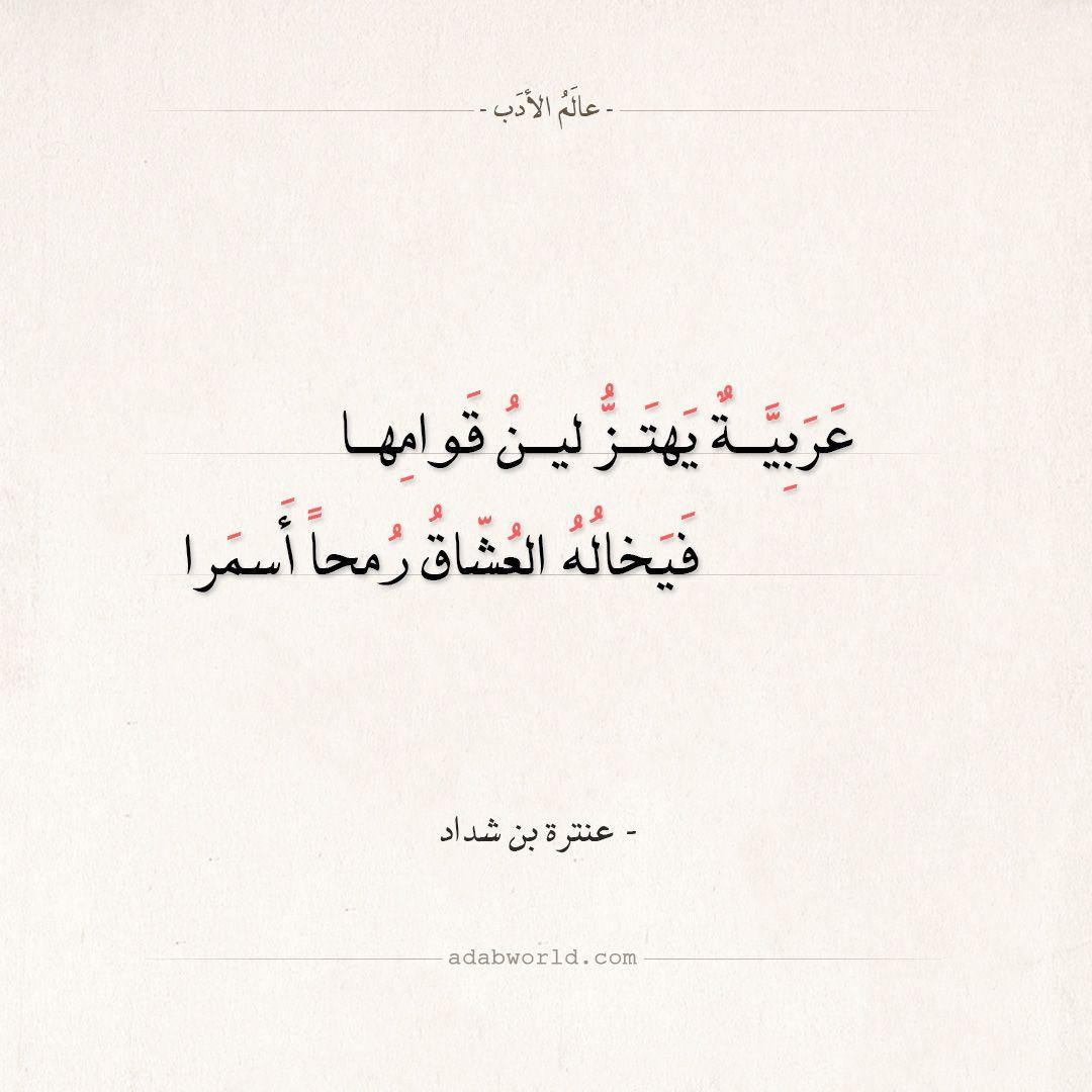 شعر عنترة بن شداد عربية يهتز لين قوامها عالم الأدب Wonder Quotes Really Good Quotes Words Quotes