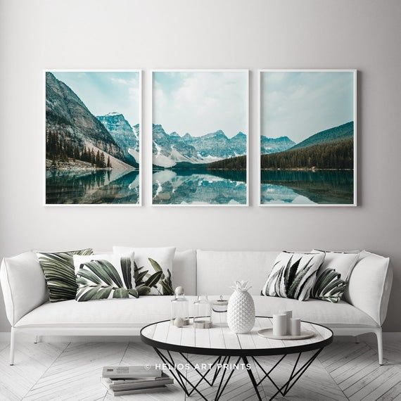 Set Of Three Mountain Landscape Reflecting In A Lake Prints 3 Etsy Mountain Wall Art Landscape Prints Landscape Wall Art