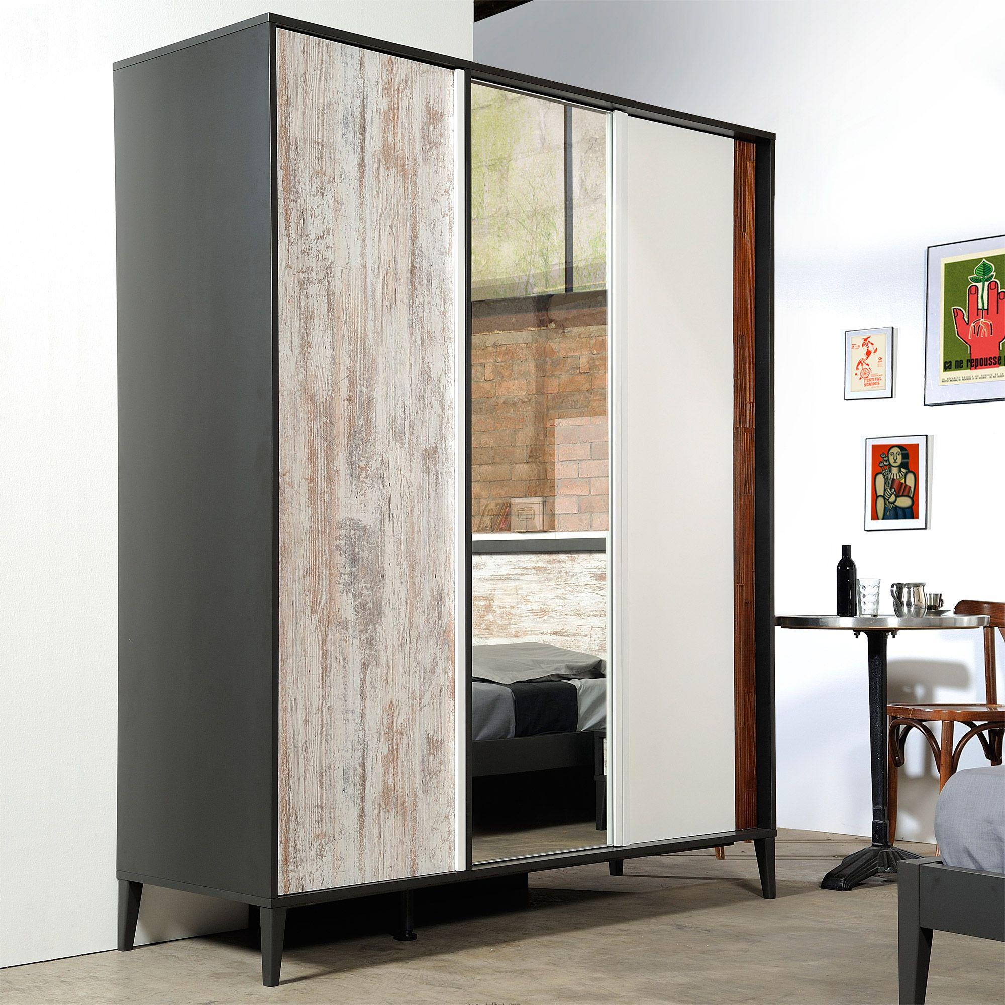 Armoire Murale Pour Chambre armoire de chambre en bois 3 portes avec miroir l162cm