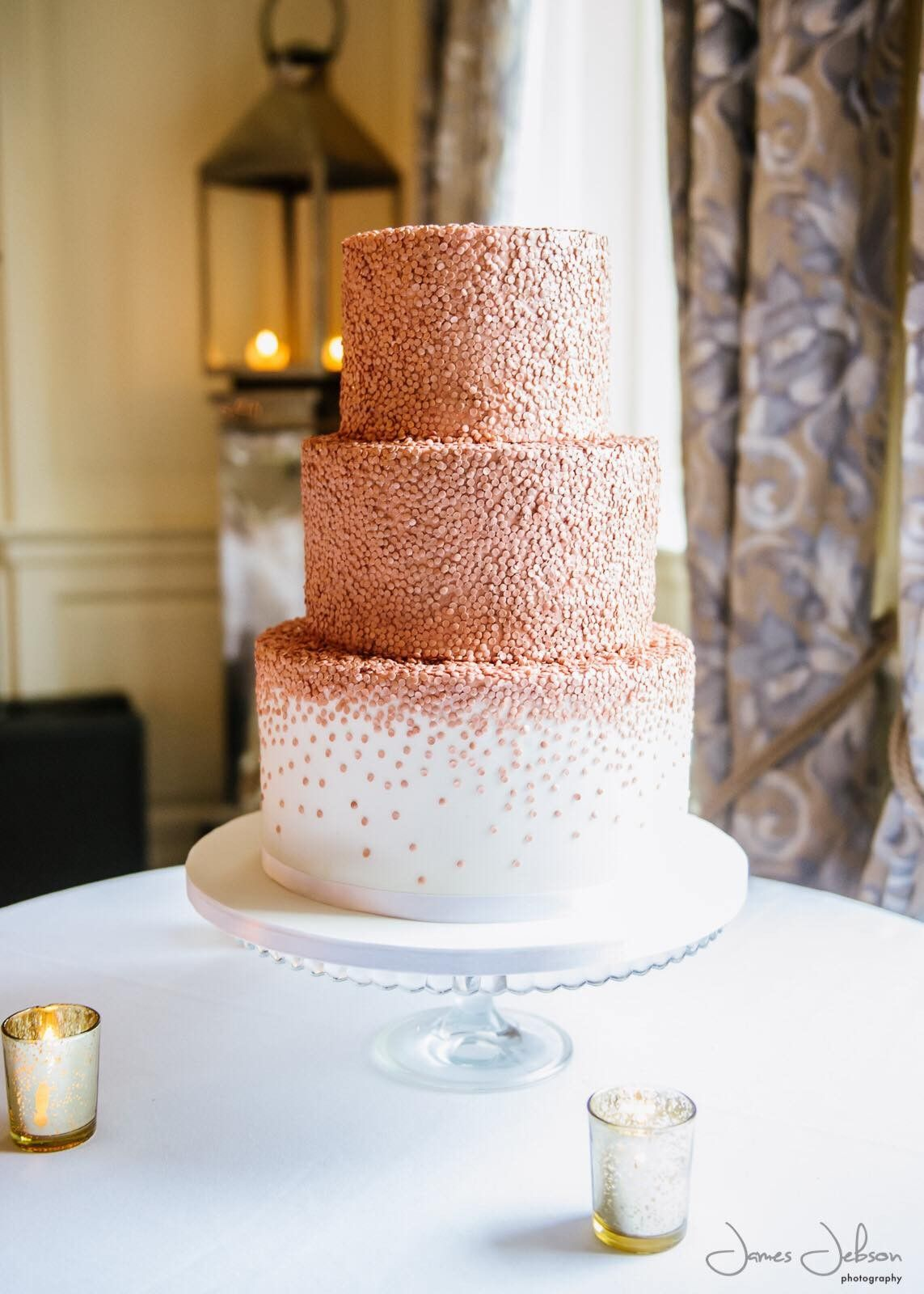 Rose gold edible sequins wedding cake by Sugar Wishes Cakes