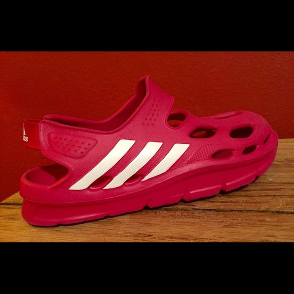 Girls Adidas Sandals! Size 13 Hot Pink - Rubber ♥️ Girls Adidas Sandals! Size 13 Hot Pink - Rubber - Like Crocs Very Comfy!! Pre owned good condition see pictures! Adidas Shoes Sandals