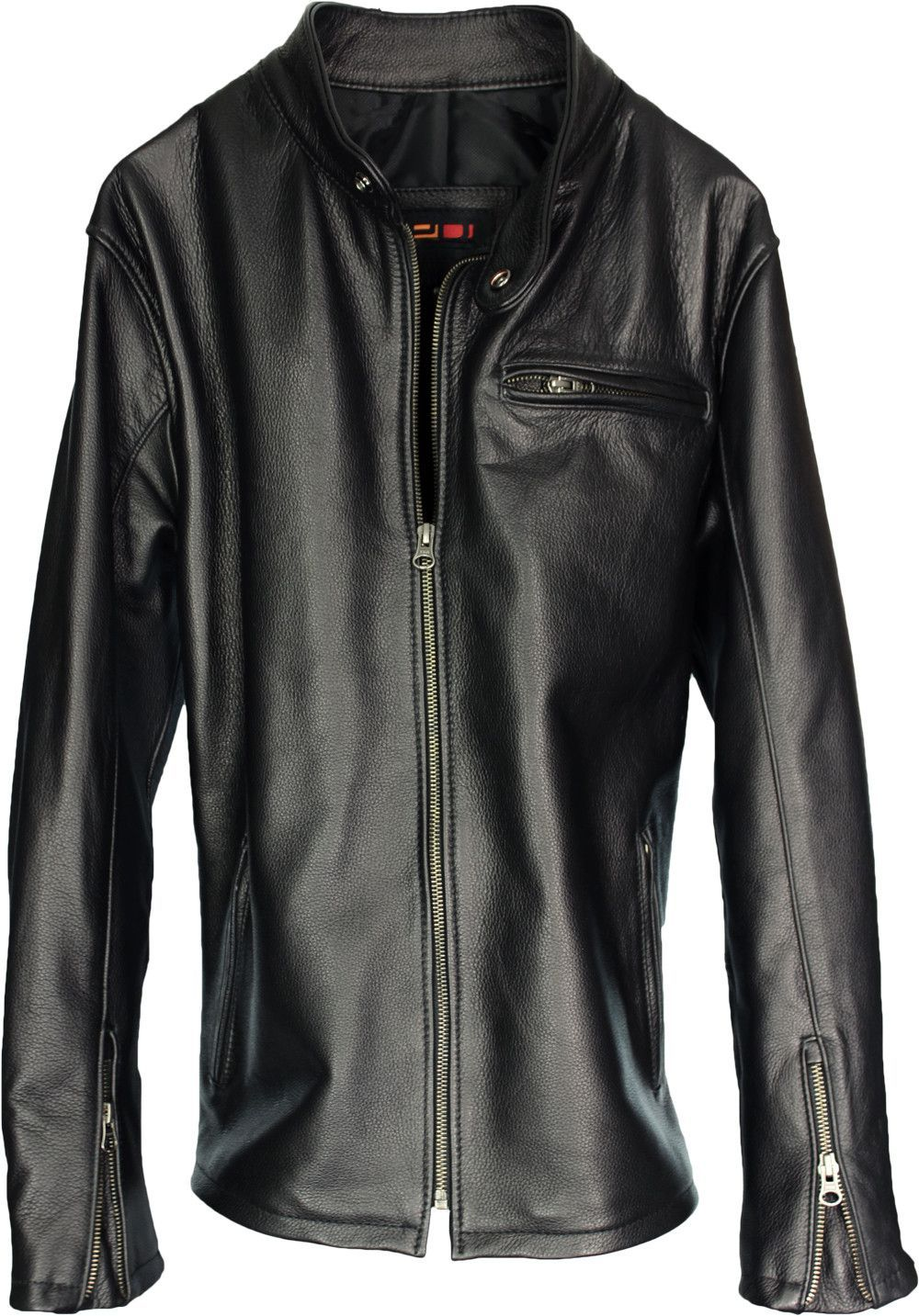 R79 Leather Jacket Motorcycle Solid Black Jackets, Solid