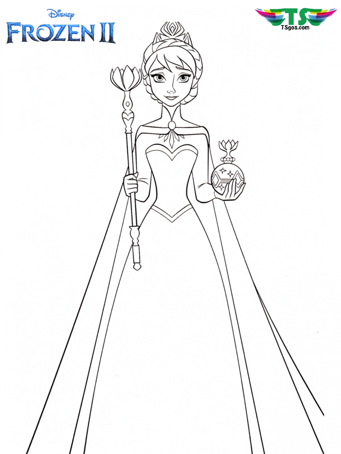Queen Elsa And Crown Frozen 2 Coloring Page In 2020 Elsa