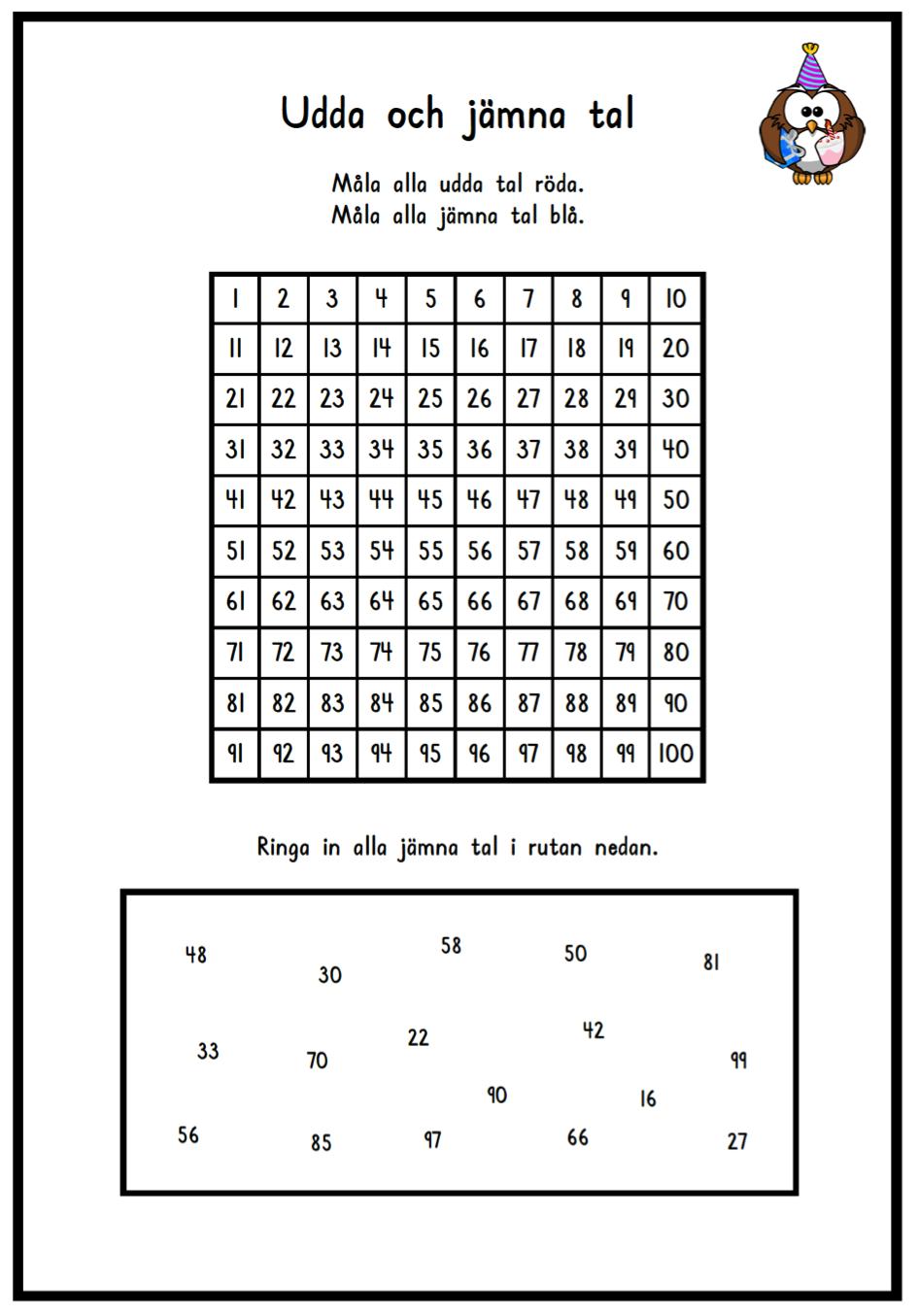 Jämna tal övning 1 | Matte | Pinterest | Math, School and Teacher