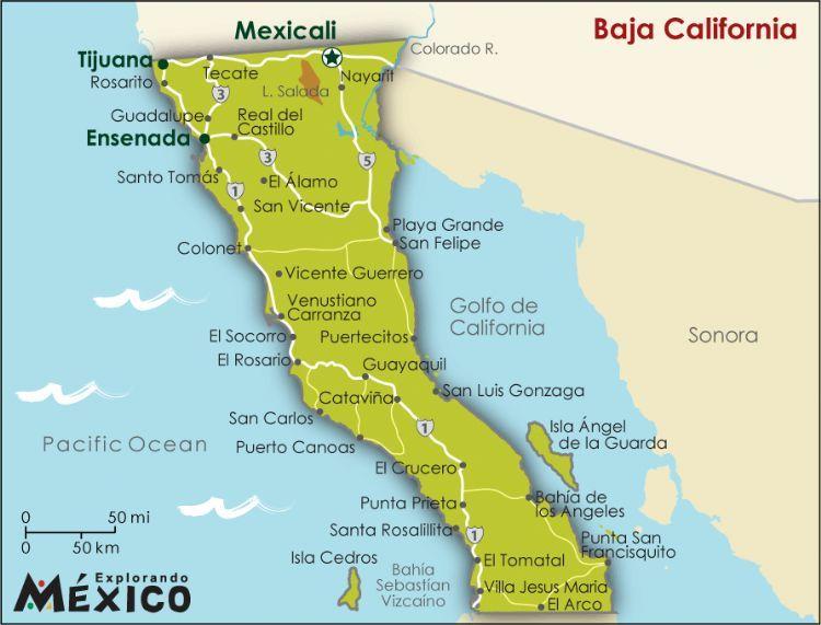 baja map california california map