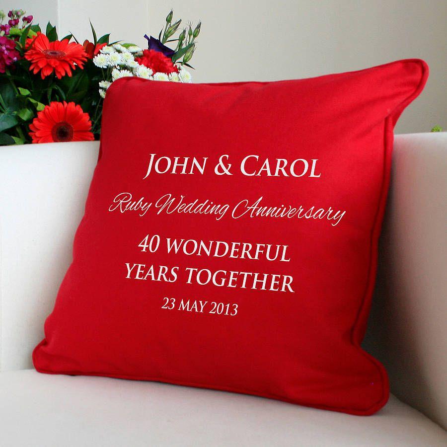 Ruby Wedding Gift Ideas For Husband: Personalised Ruby Wedding Anniversary Cushion