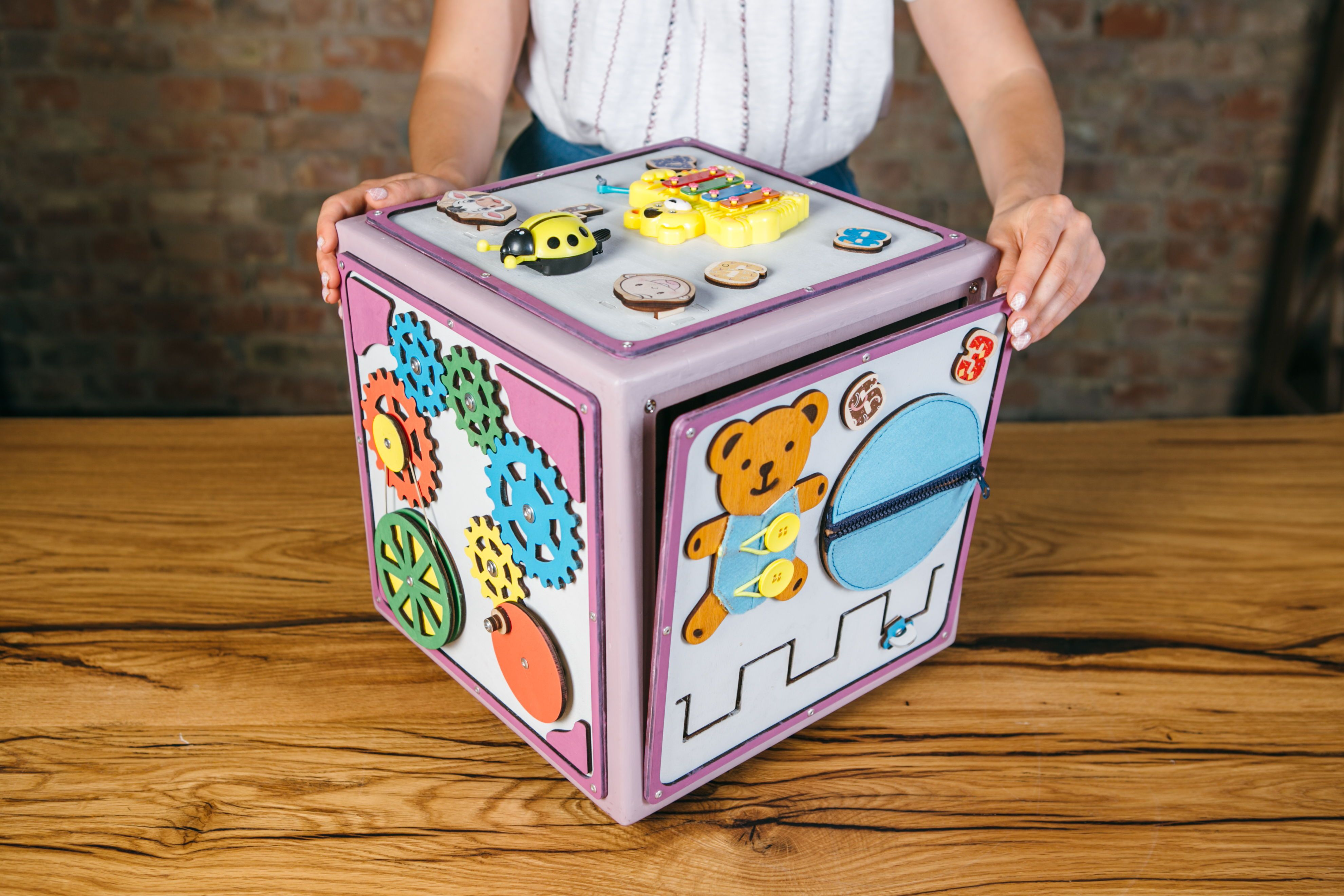 Travel Toy Magnetic Cube 14 Inch Side Fidget Board Busy Board Activity Montessori Toy Gift for Toddler Lacing Sensory Birthday
