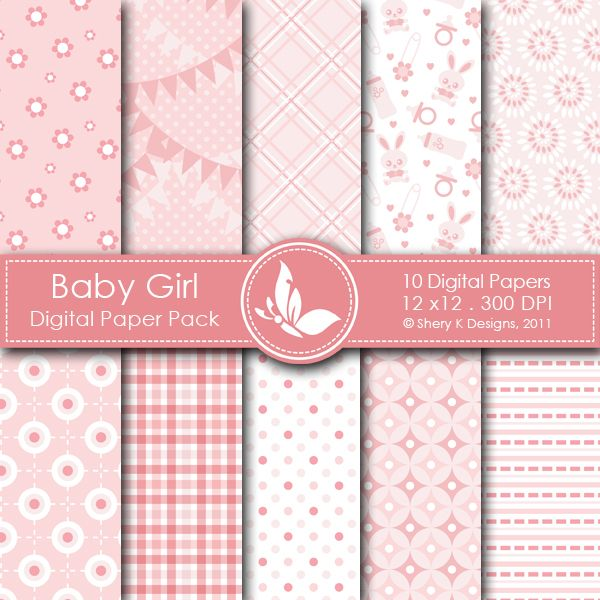 Baby Girl 1 This listing is for 10 printable High Quality Digital papers. Each paper measures 12 x 12 inch, 300 DPI, JPEG format. Great for scrapbooking, making cards, invitations, tags and photographers.