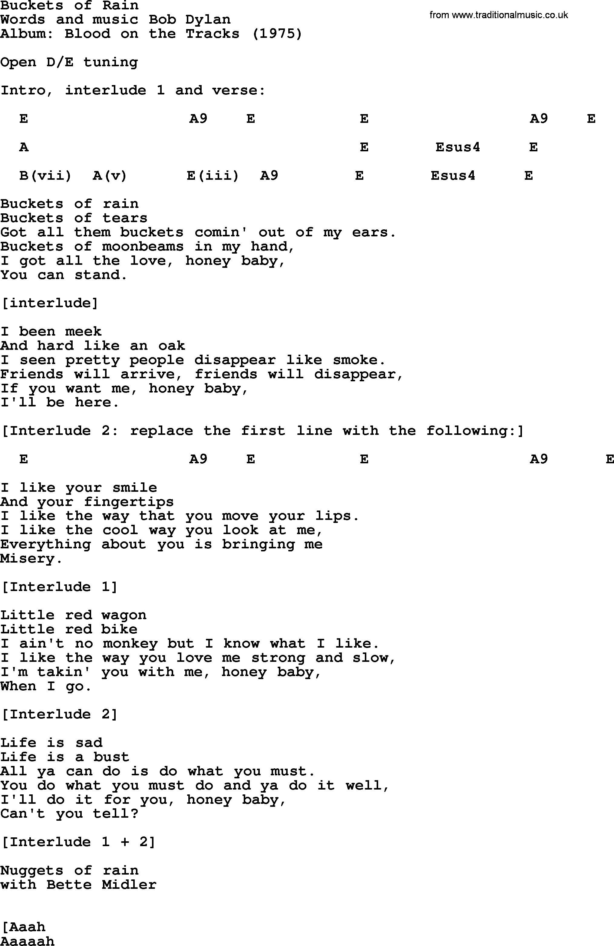 Buckets Of Rain Bob Dylan