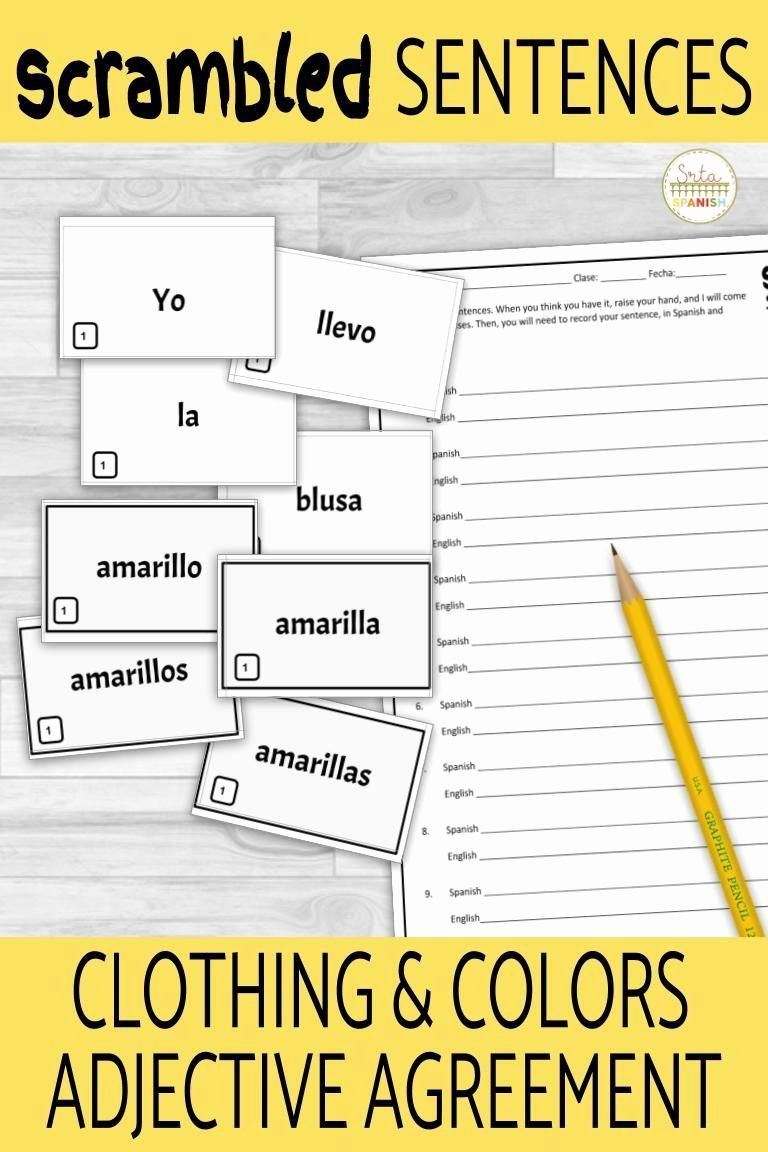 Noun Adjective Agreement Spanish Worksheet Unique Spanish Noun Adjective Agreement Scrambled Sentence Activ Sentence Activities Spanish Lesson Plans Adjectives [ 1152 x 768 Pixel ]