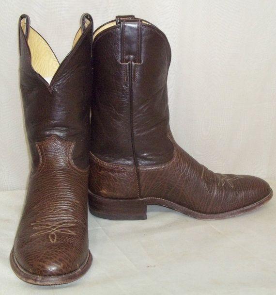 da27de54b99 Vintage Justin Mens Leather Bull Hide Cowboy Western Boots 10 1/2D ...