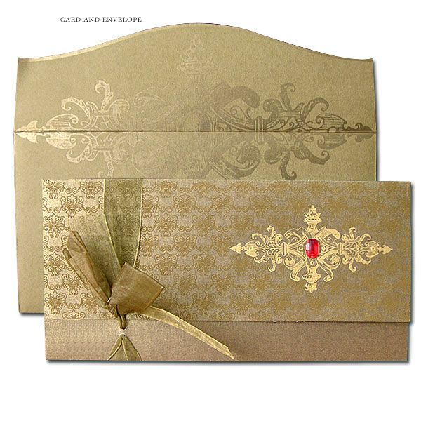 Red And Gold Muslim Wedding Invitation Card Ssc10r: Beautiful Light Brown W/ Red Gem