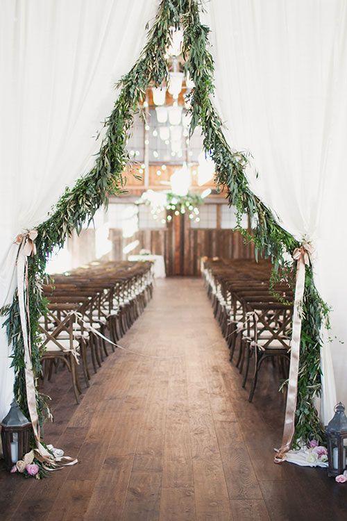 Ceremony Entrance With Greenery Brides Winter Wedding Arch Reception Backdrop
