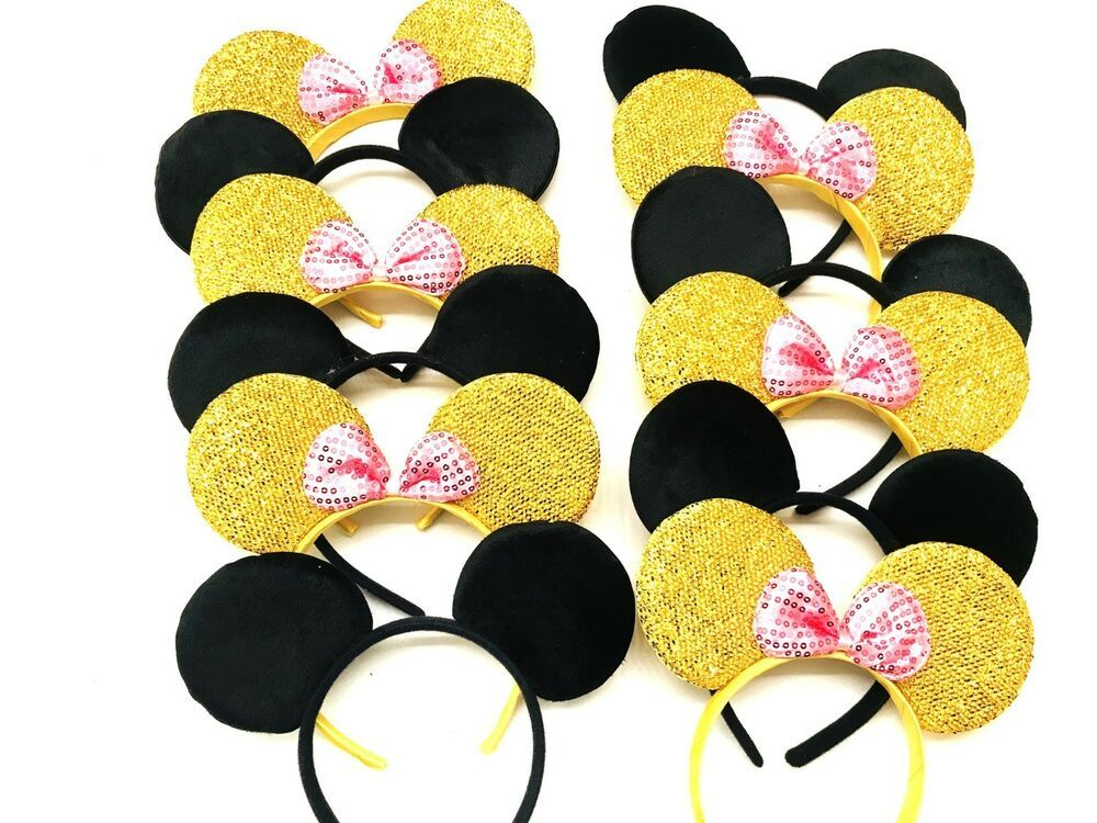 24 MINNIE MOUSE EARS HEADBANDS BLACK PLUSH PINK BOW PARTY FAVORS COSTUME MICKEY
