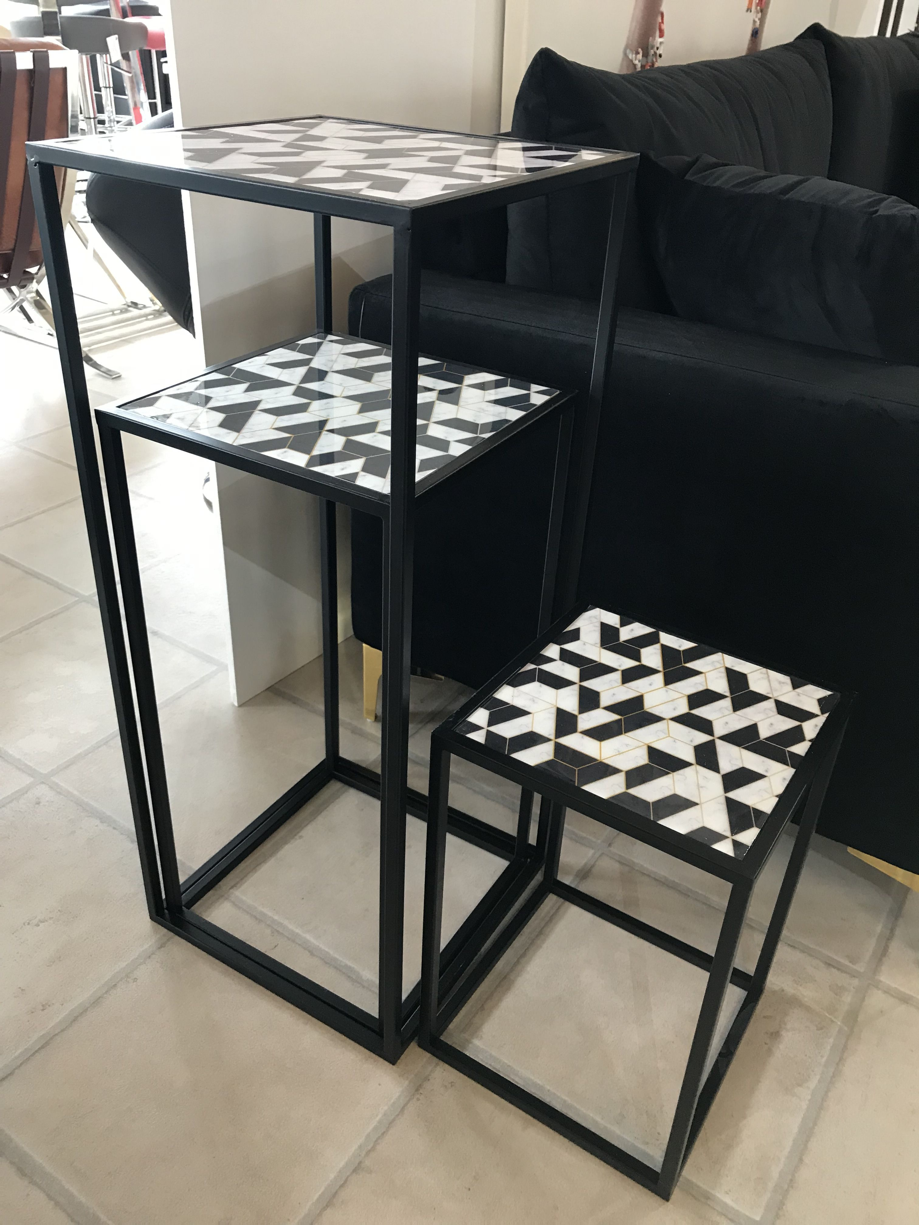 Add Something A Bit Different To Your Home With This Quirky Set Of Monochrome Geometric Designed Side Tables This Nest Wou Tall Table Modern Living Room Table