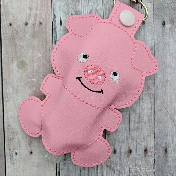 Pig Hand Sanitizer Holder Pink Embroidered Vinyl With Snap Great