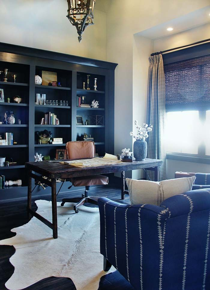 Navy Blue Office, Transitional, Den/library/office, Tiffany Jones Layered  RugInterior Design | Office | Pinterest | Blue Office, Tiffany And Navy Blue