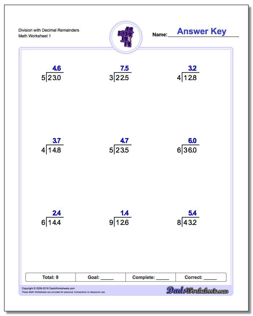 Long Division Worksheet With Decimal Remainders Long Division Worksheet With Decimal Remainders Division Worksheets Long Division Worksheets Math Worksheets