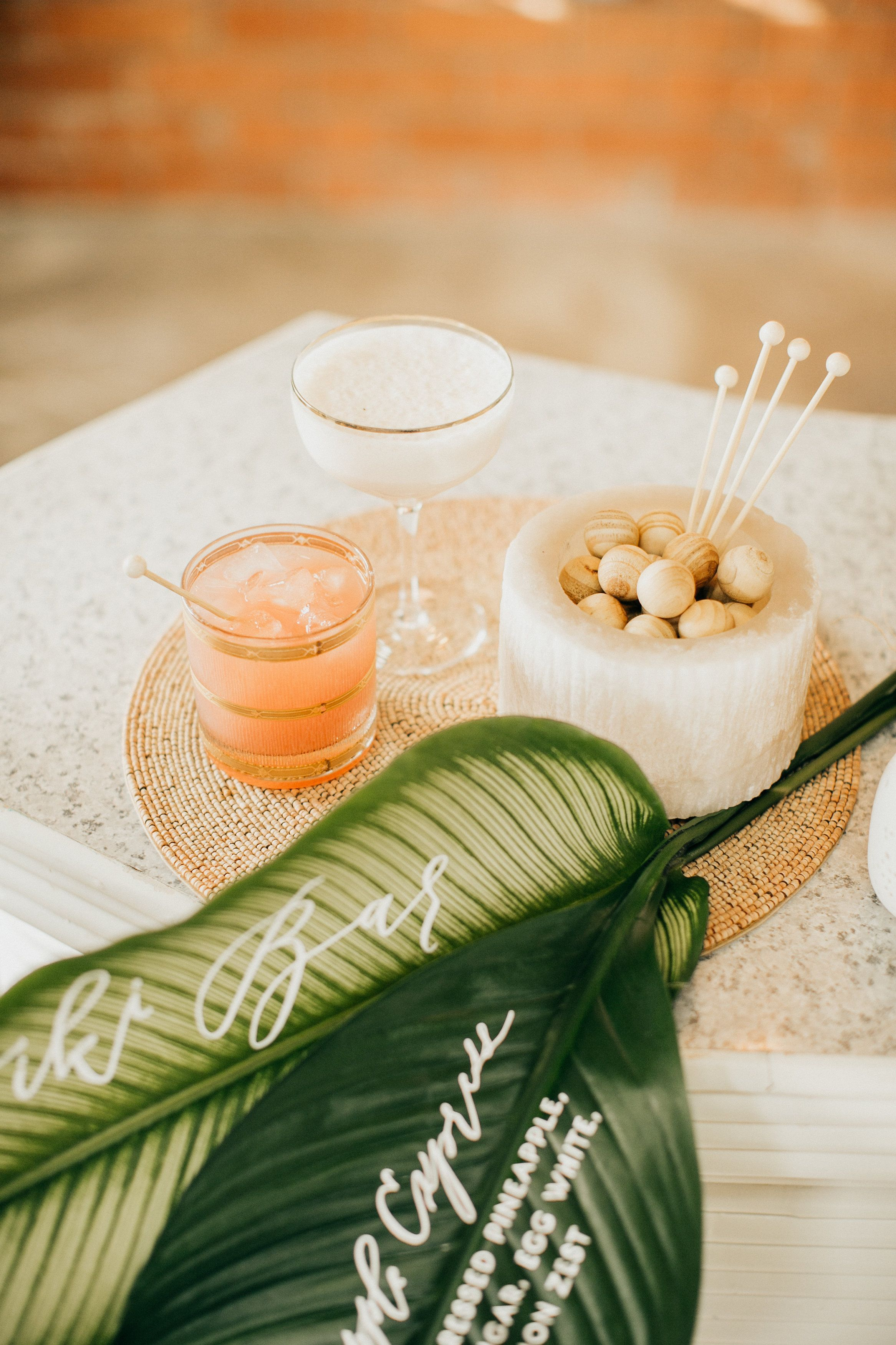 Tiki inspired specialty cocktail from Root Cellar Catering. Glasses from Hostess Haven. Photography by Aubree Lynn Photography.