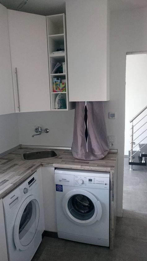 Wäscheschacht Klappe wäscheabwurf eigenbau idee wäscheabwurf waschküche