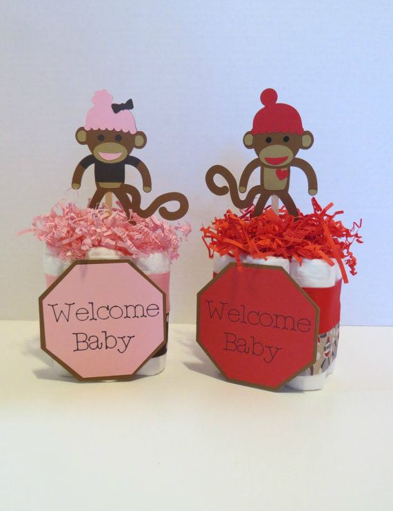 sock monkey mini diaper cake centerpiece by yourpartystartshere