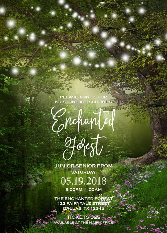 This Enchanted Forest Prom Invitation features a magical scenery at - invitation template nature