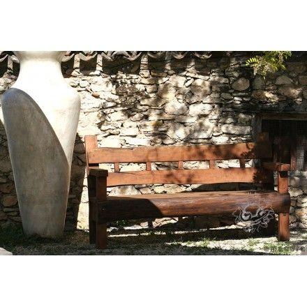 Grand banc de jardin en bois exotique, meuble de jardin