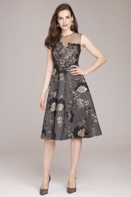 Teri Jon by Rickie Freeman Jacquard Fit   Flare Dress with Lace Appliques 05d424cd4