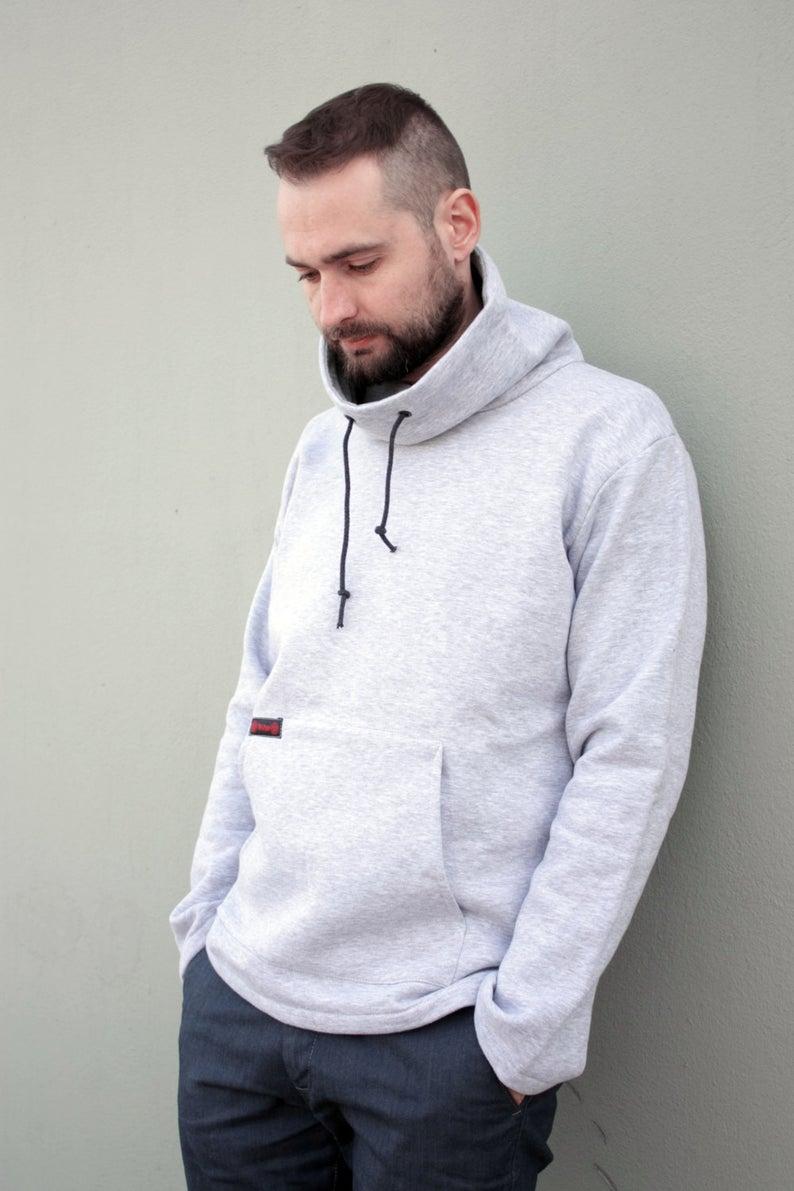 Men Hoodie Grey Cowl Neck Sweatshirt Hooded Sweatshirt Plus Etsy Hoodies Men Cowl Neck Sweatshirt Hooded Sweatshirts [ 1191 x 794 Pixel ]