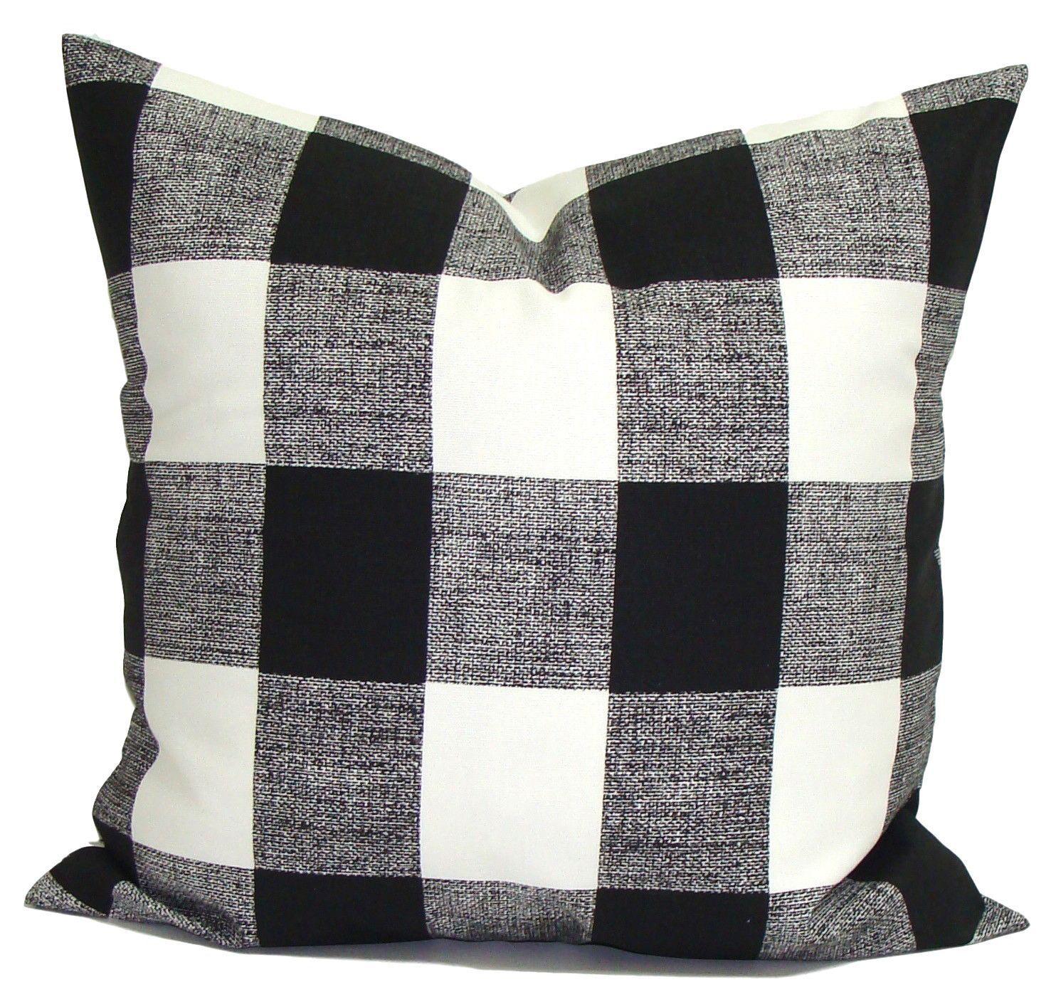 Black White Buffalo Check Buffalo Check Pillows Outdoor Pillow Covers Fall Pillows