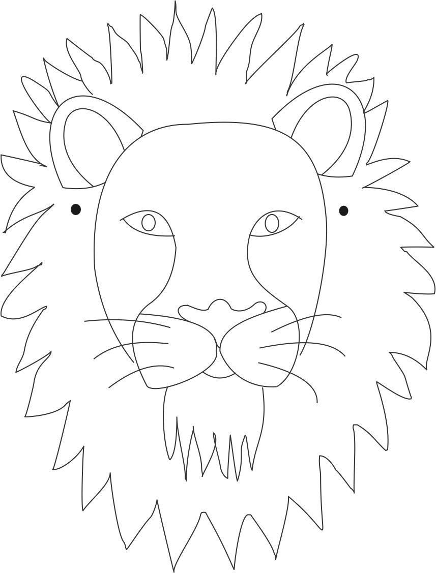 Lion mask printable coloring page for kids: Coloring pages