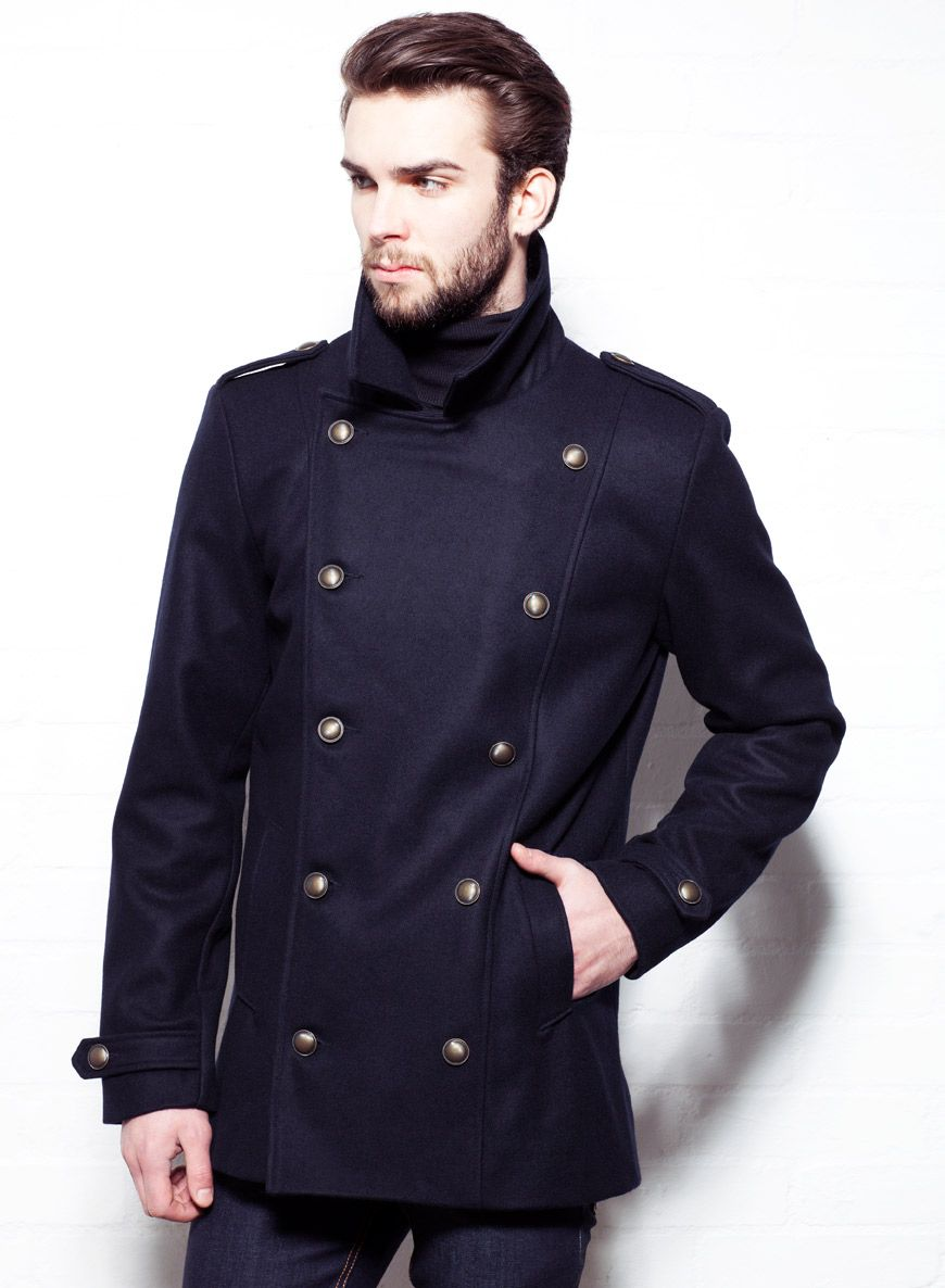 Shop Men's Navy Military Wool Pea Coat. Buy retro & indie fashion ...