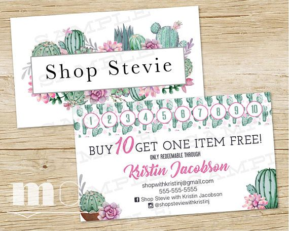 Shop stevie loyalty card business card shop stevie punch stamp shop stevie loyalty card business card shop stevie punch stamp cards buy 10 items get one free watercolor cactus succulent printable reheart Gallery