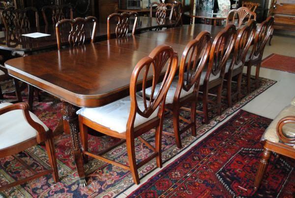 Hickory White Large 11 Ft Long Mahogany Dining Table Mahogany