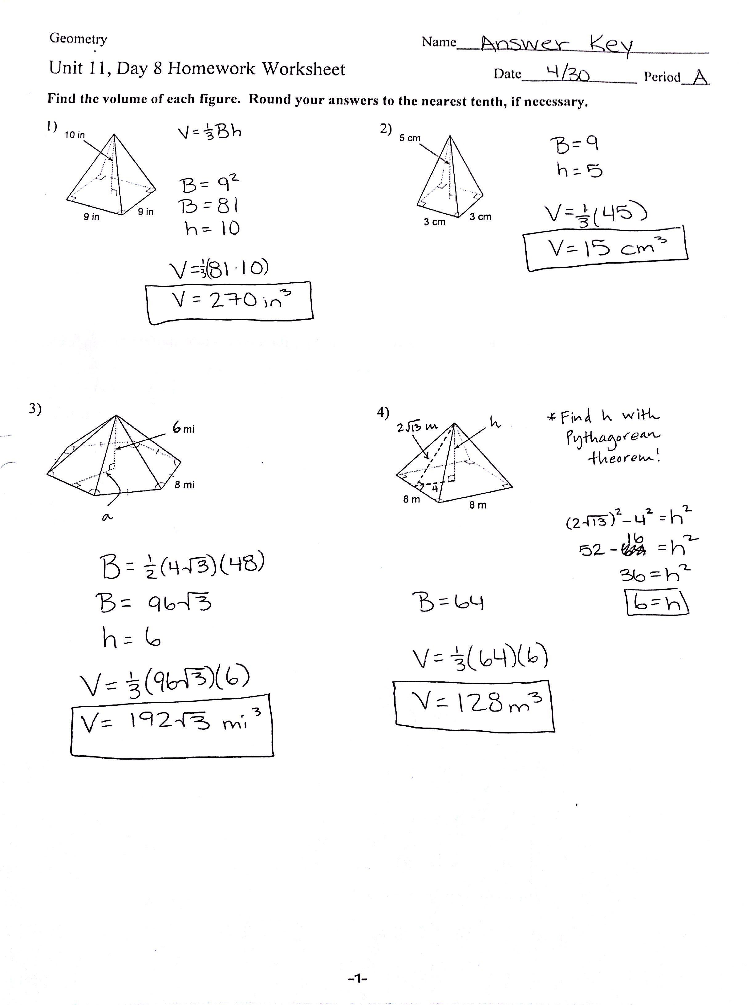 Printable Worksheets Surface Area And Volume Pyramids