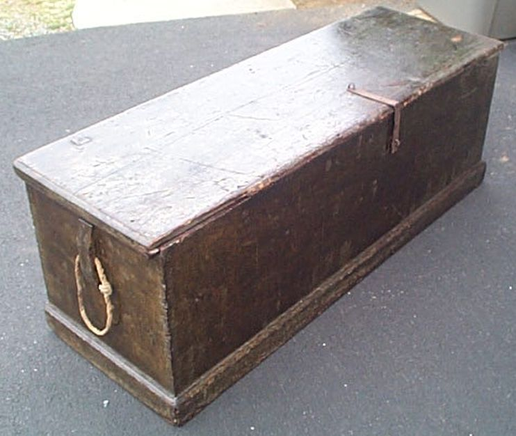 Large 6 Plank Mid 19th Century Sea Chest Or Stowage Chest Used On Weather Decks Vintage Boxes Wooden Antiques Chest