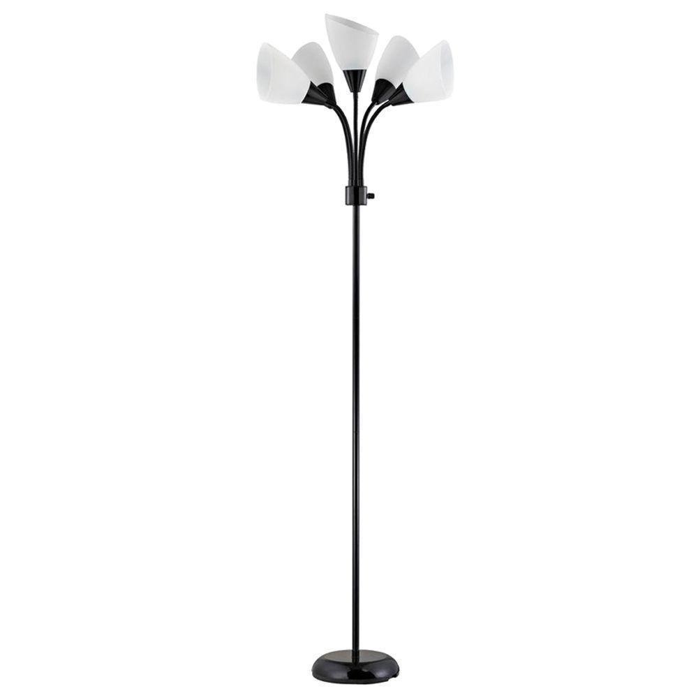 New Adjustable 5 Light 67 5 inch Black Standing Modern Floor Lamp ...