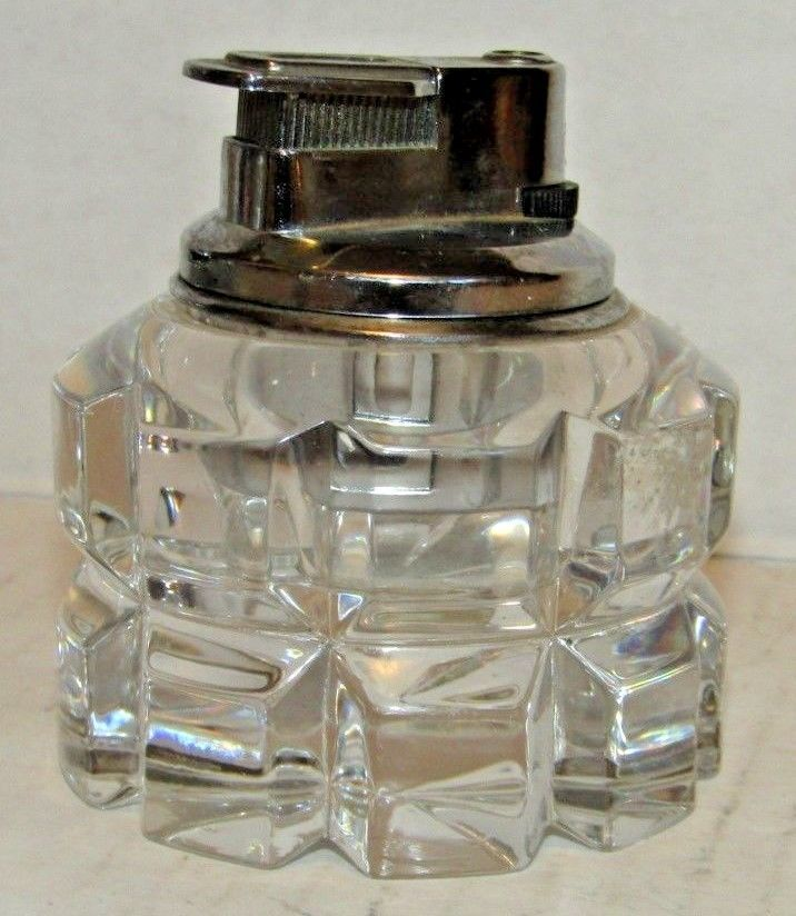 Vintage Colibri Lead Crystal Butane Table Lighter Works Great Isqueiro