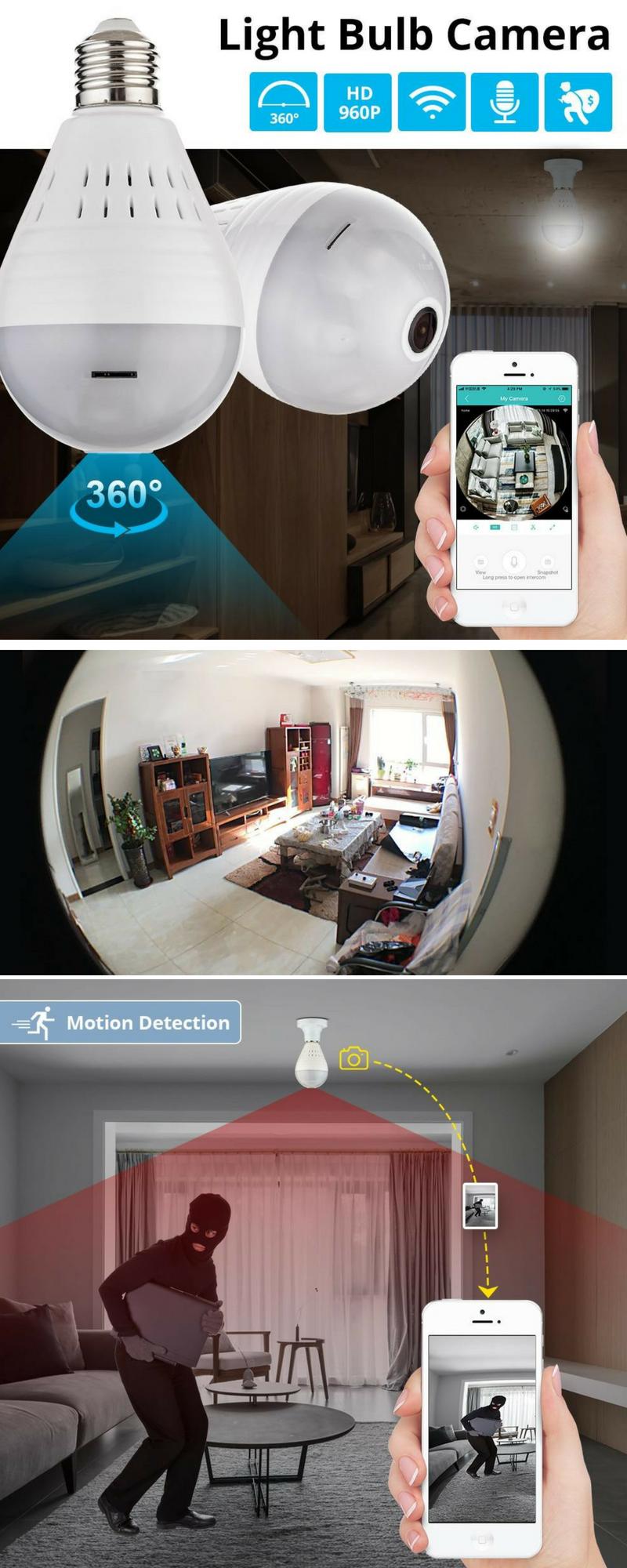 Smart LED Bulb Wireless Spy Camera in 2019   Spy Cameras   Wireless
