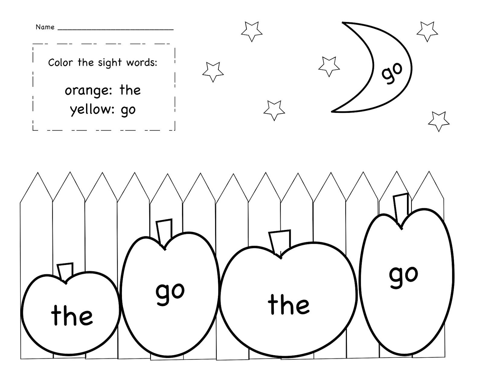 October Sight Word Coloring Sheet