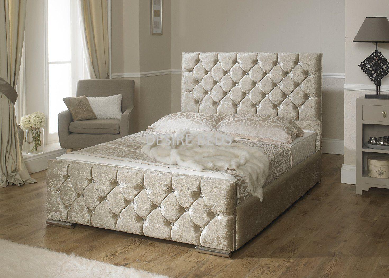 Crushed Velvet Upholstered Bed 3ft 4ft 4ft6 5ft