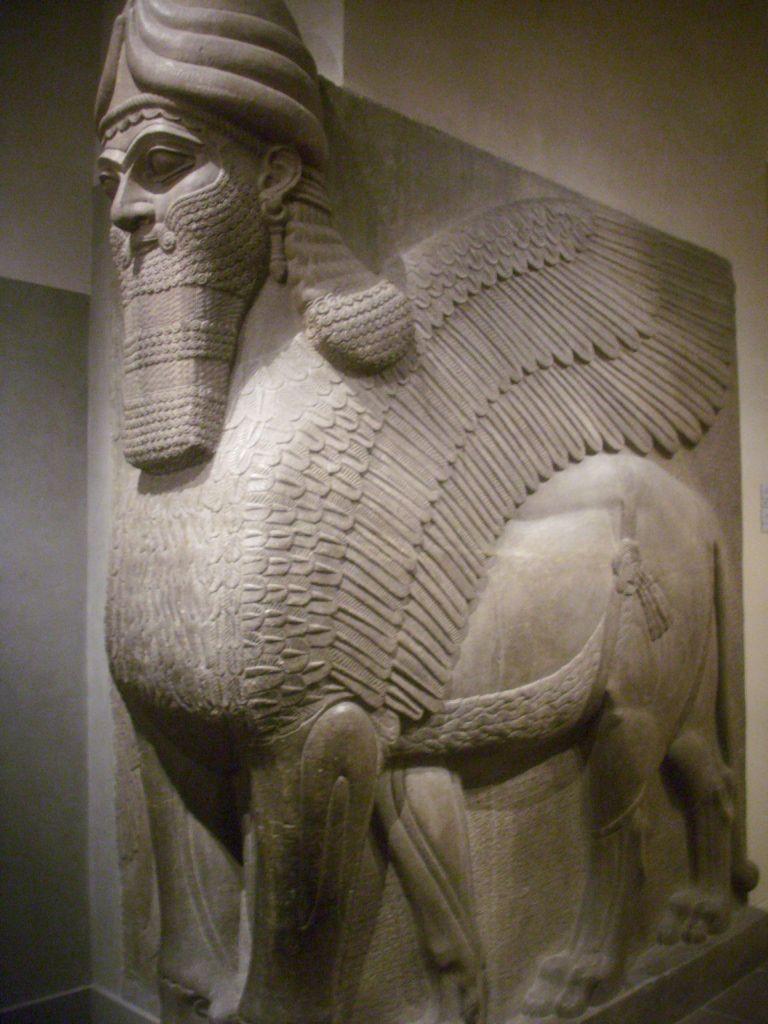 Lamassu (man-headed winged bull). From the citadel of ...