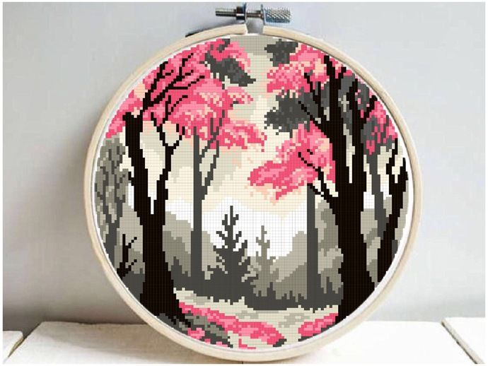 Photo of Forest Modern Cross Stitch Pattern, starry night, watercolor, nature, galaxy, cross stitch chart, mountain, forest, instant download PDF