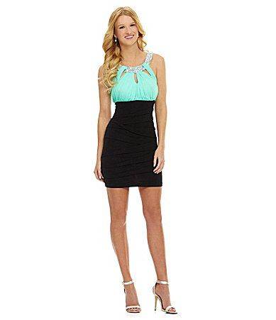 Jodi Kristopher Beaded Uneckline Dress Dillards Homecoming